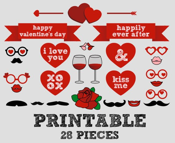 printable valentine s day photo booth love hearts vine rose rh pinterest com