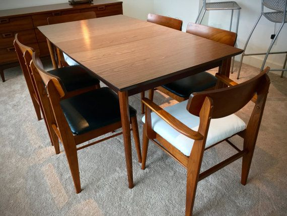 FREE SHIPPING   Mid Century Modern Stanley Dining Room Table   6 Chairs by  H. FREE SHIPPING   Mid Century Modern Stanley Dining Room Table   6