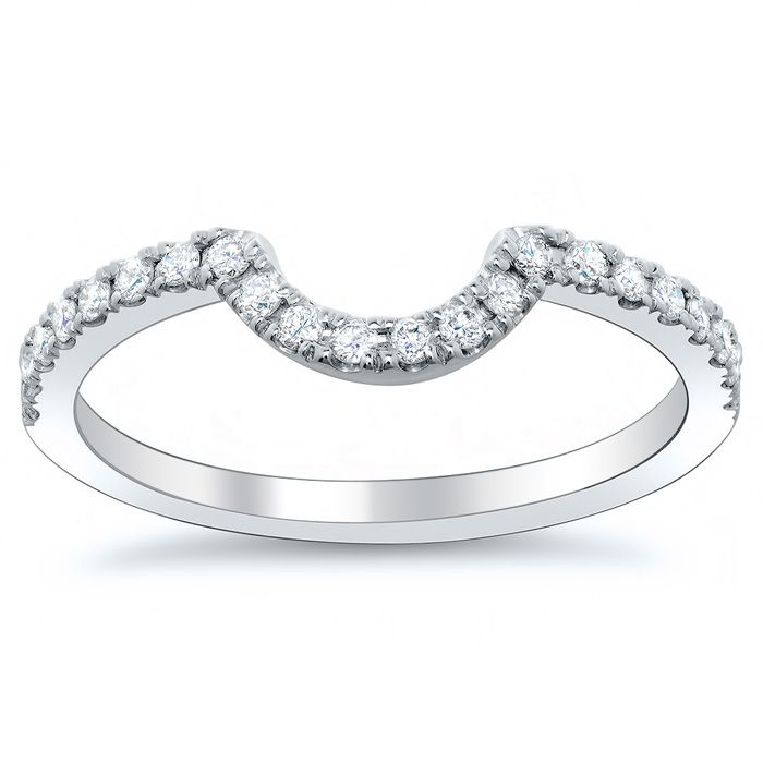 Curved Diamond Wedding Band Perfect For Round Or Oval Engagement Rings