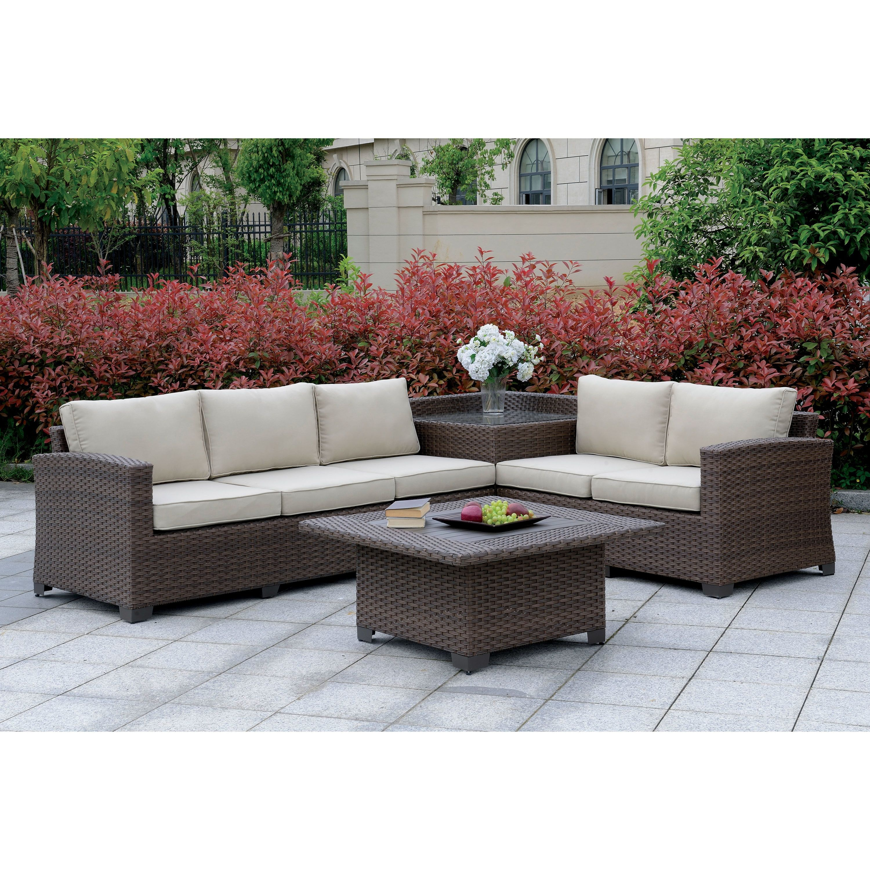 langston contemporary outdoor patio sectional with corner table by rh in pinterest com