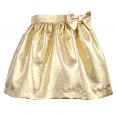 Hucklebones London Gold Metallic Gathered Skirt at Childrensalon.com