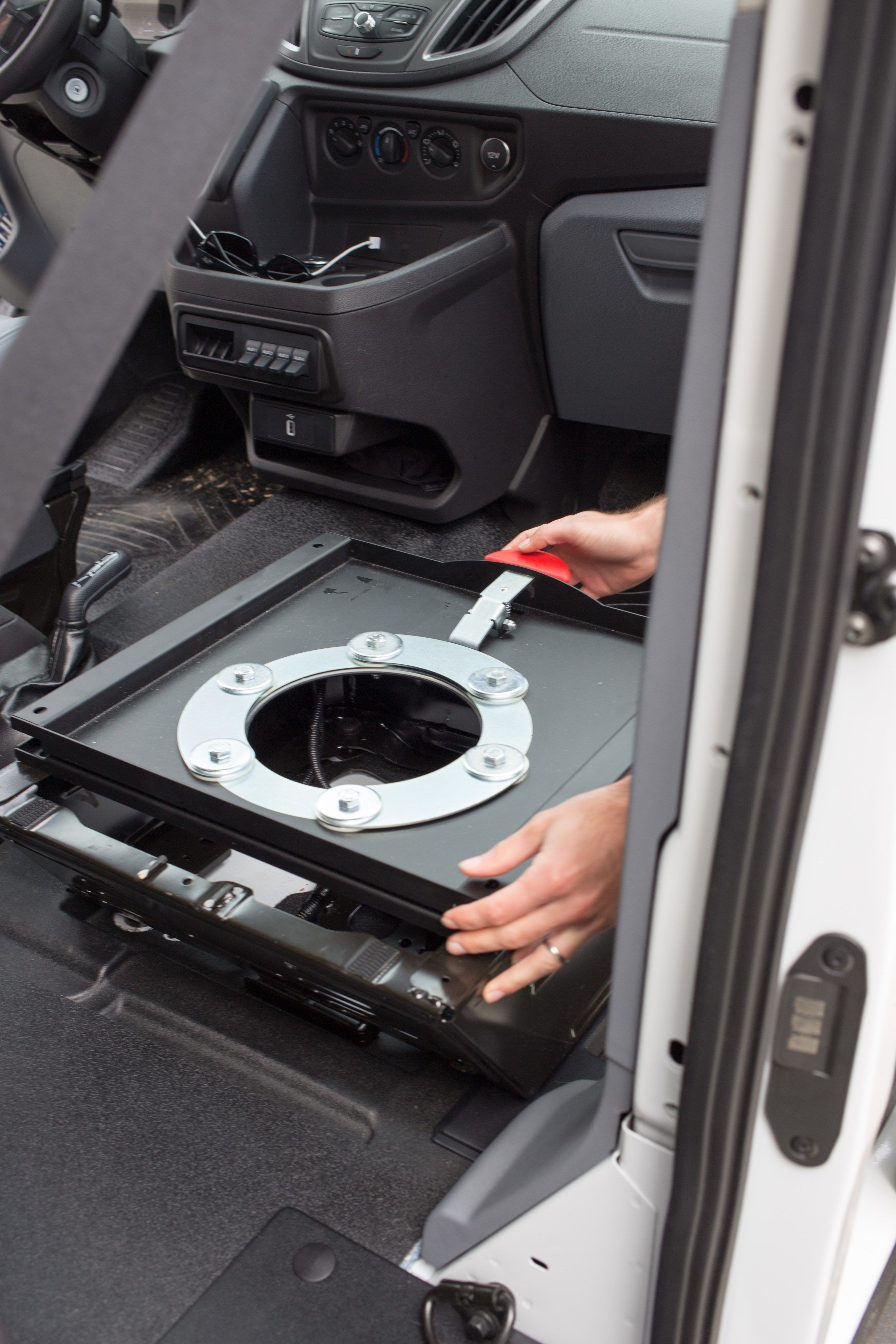 How To Install A Swivel Seat Adapter Transit Camper Ford Transit Camper Van Conversion Diy