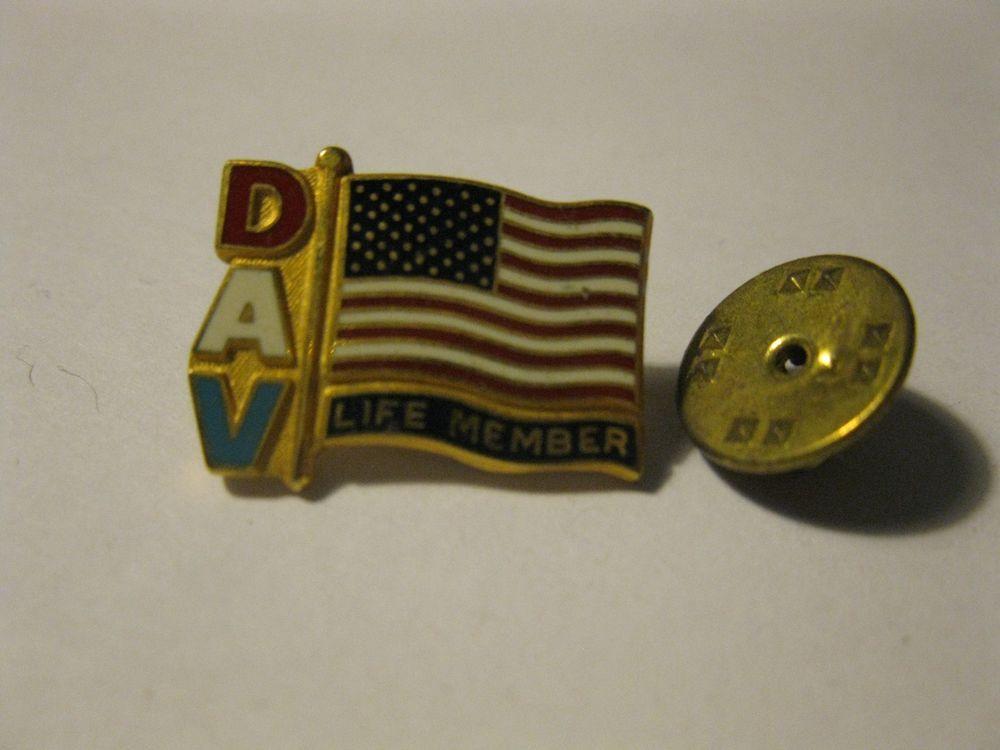 DAV American Flag Pin Life Member Lapel Pinback brass colored metal USA enamel