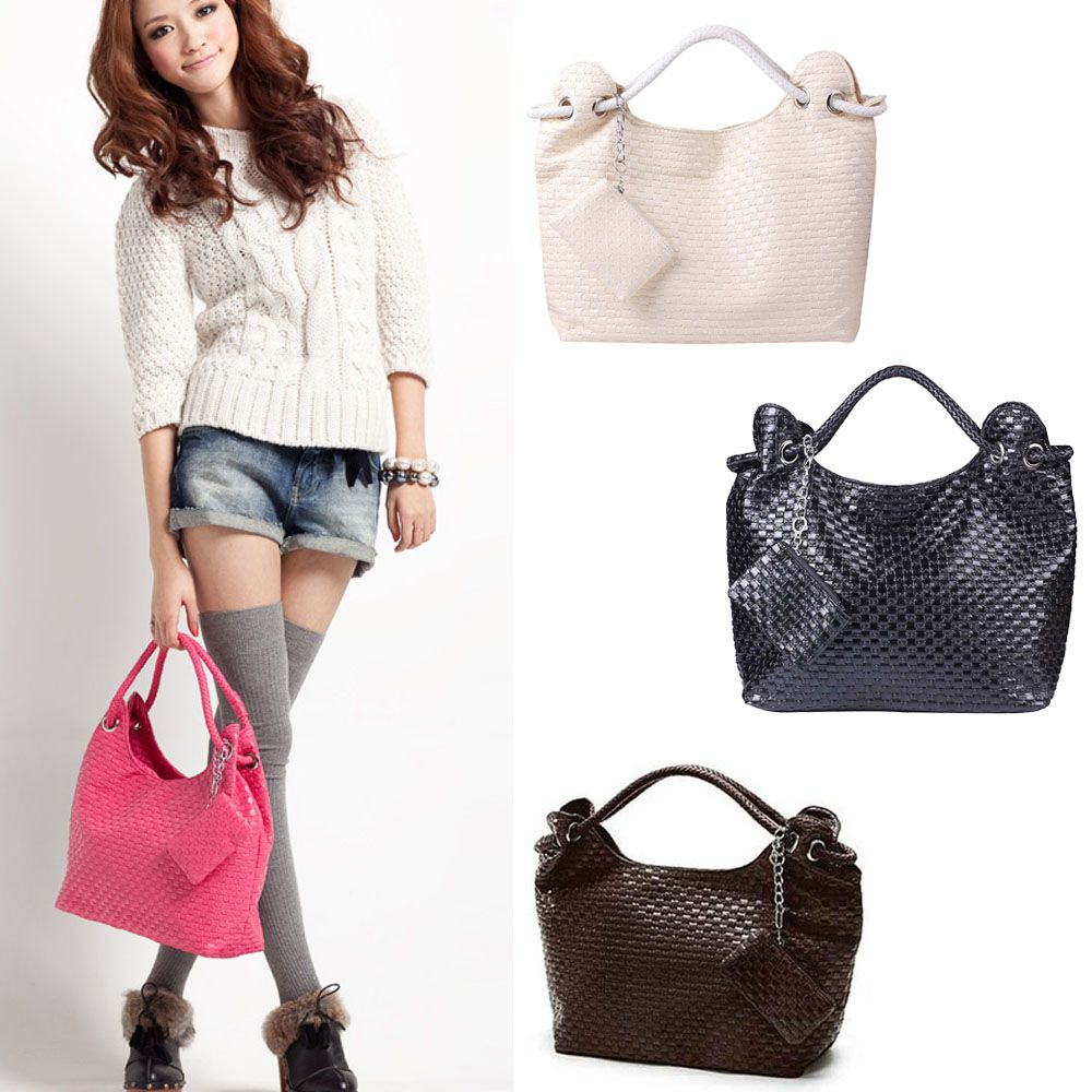 $17.55 (Buy here: http://appdeal.ru/a1pb ) Lady Braid Handbag Single Shoulder Tote Soft Polyurethane Portable For Women 4 Colors HB88 for just $17.55