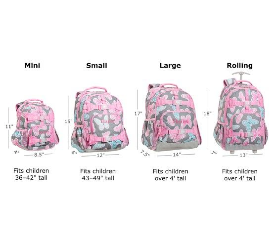 Backpack size comparisons pottery barn kids also fairfax pink white stripe ideas and things for school rh pinterest