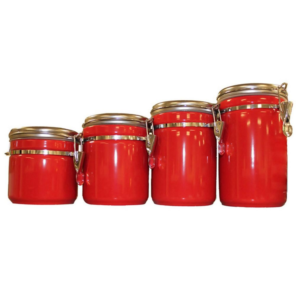 red kitchen canister set ceramic counter top 4 clamp lock lids