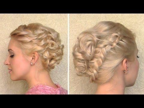 Glamorous curly updo with a braid