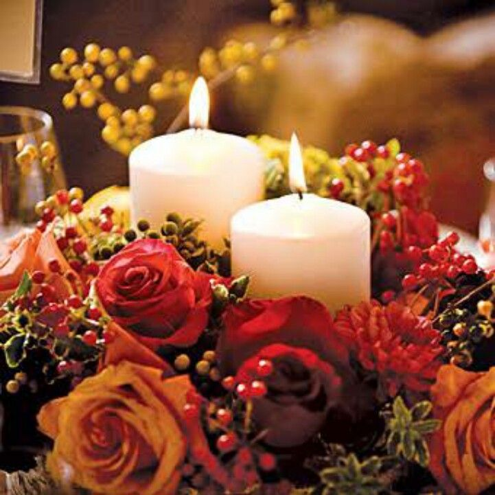 pinterest wedding table decorations candles%0A The tables displayed a mix of high and low centerpieces  the low  arrangements featured roses  berries  calla lilies  dahlias  and candles in  vases wrapped
