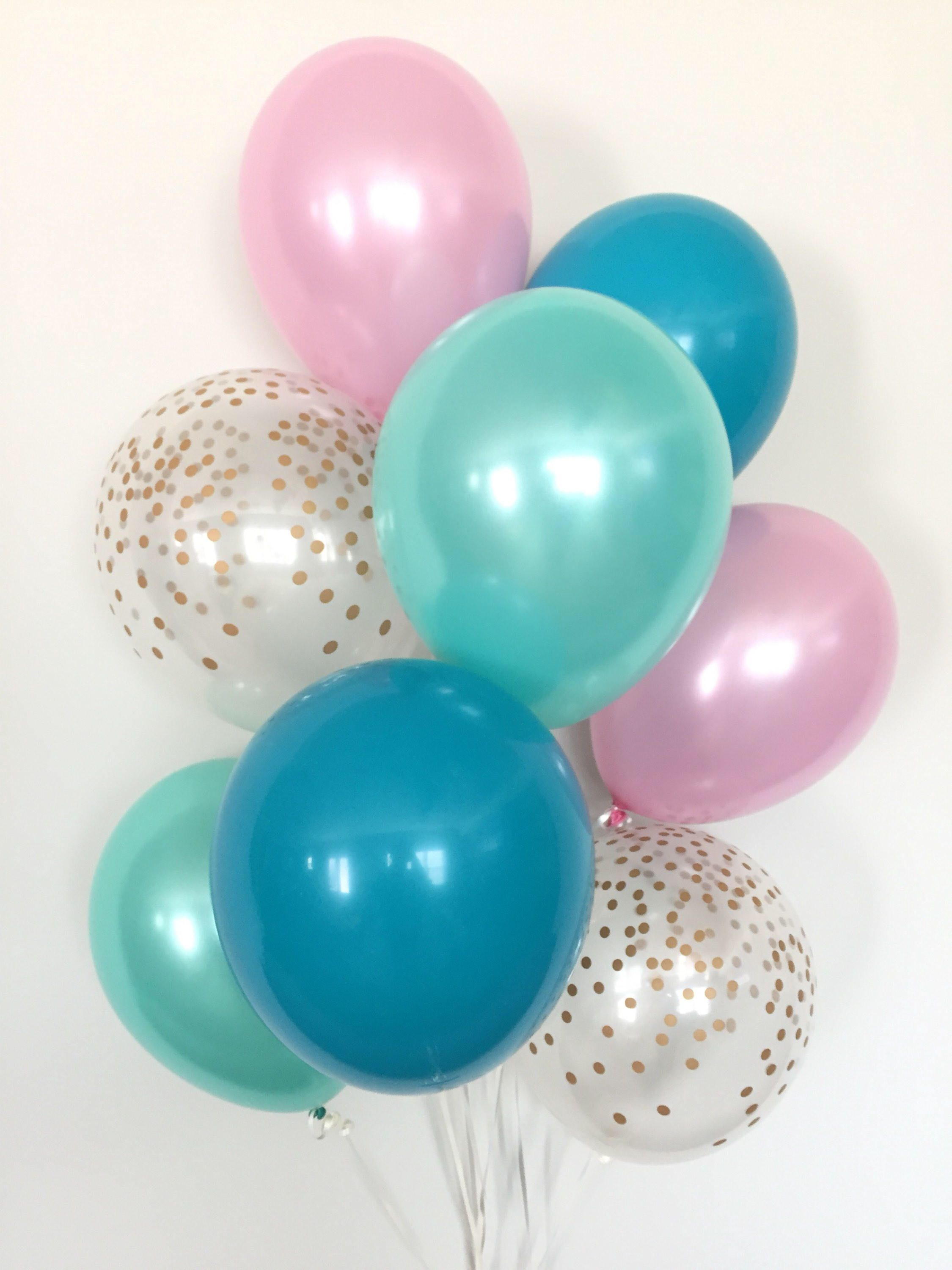 Pink and Teal Balloon Bouquet Pink