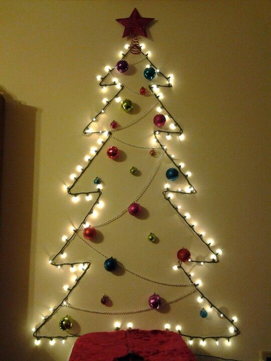 Christmas tree on the wall.