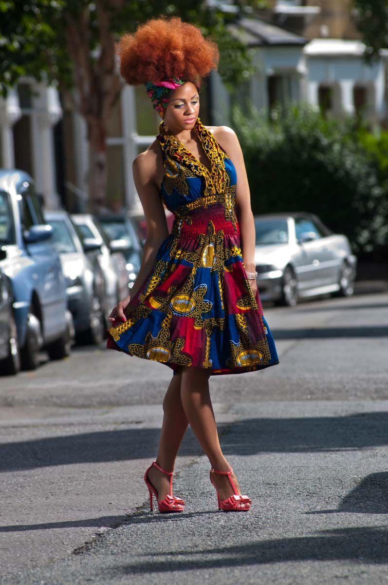 Waxing Neck Hair: African-Wax-Print-Ruffle-Halter-Neck-Dress-1 Zanjoo