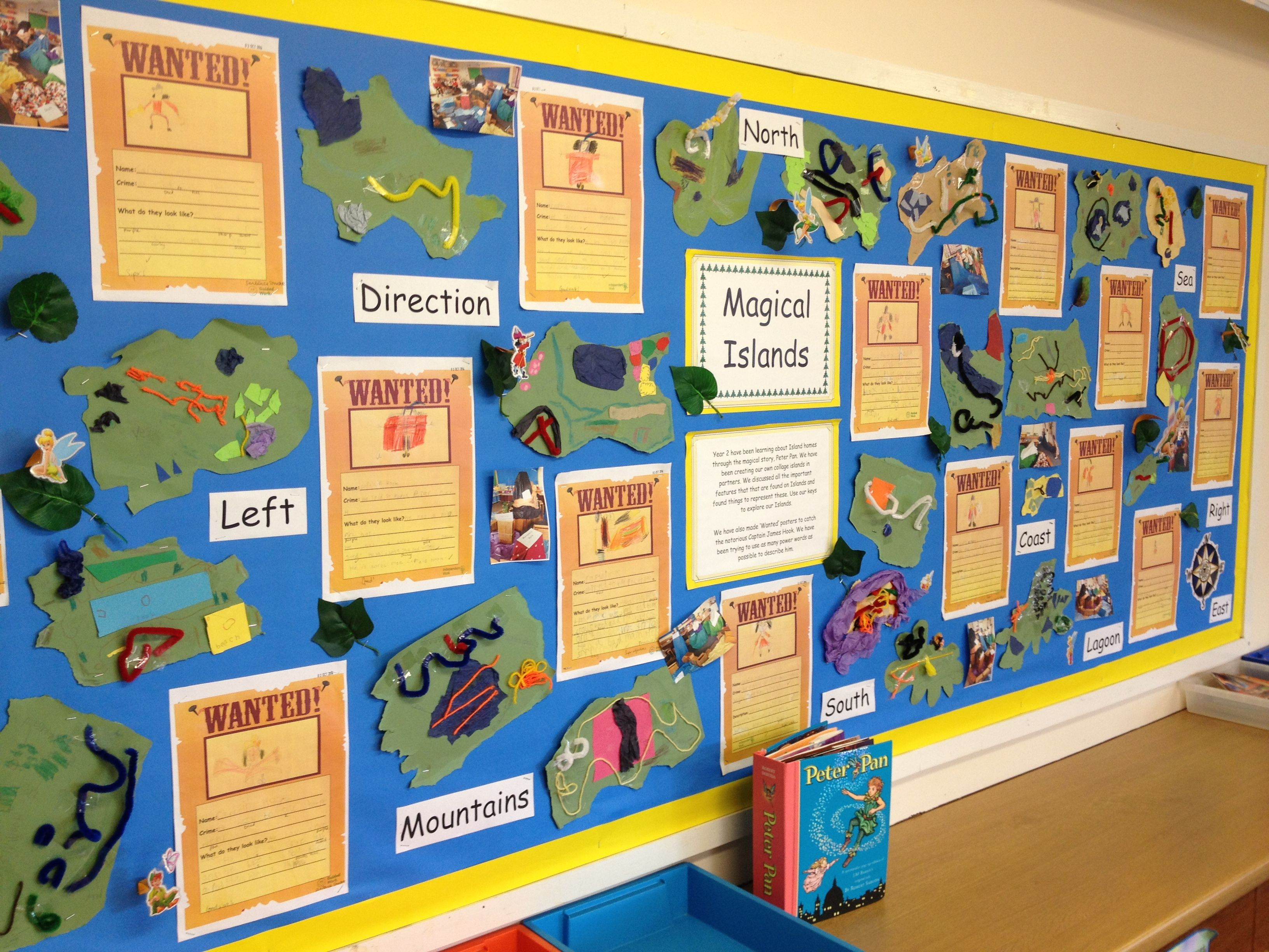 Classroom Hook Ideas : Peter pan display map work and wanted posters for