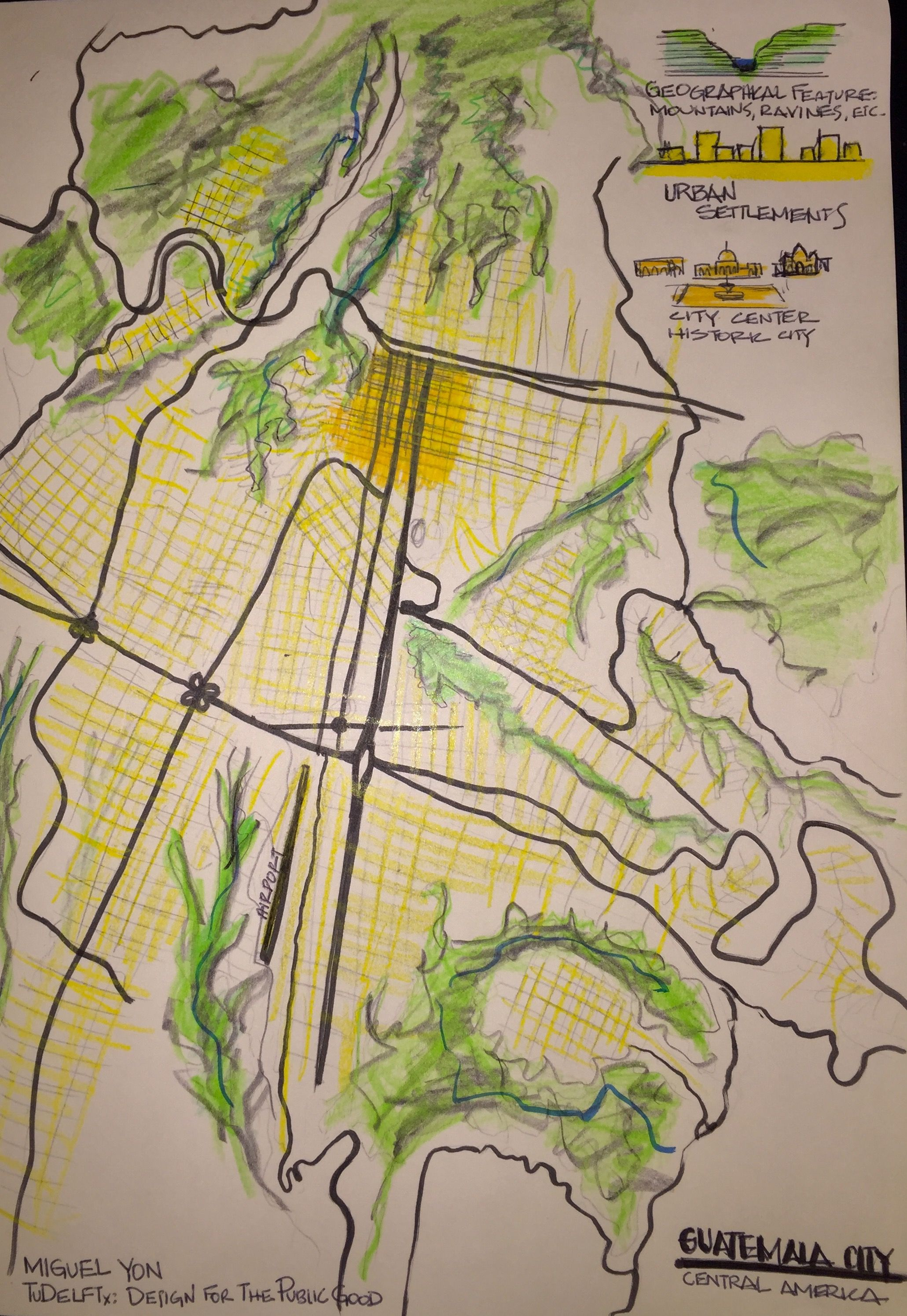 Map Usa East Coast Cities%0A Week    Hello  my name is Miguel Yon Moll  I am an architect  This a  traced map of Guatemala City in wich the geographical features that have  shaped the