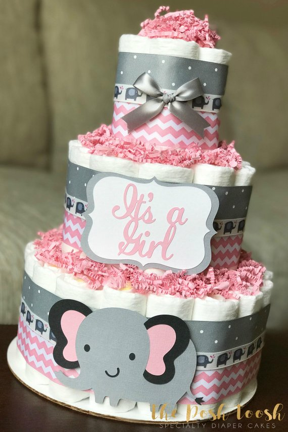 elephant pink and gray diaper cake baby girl pink grey elephant rh pinterest com