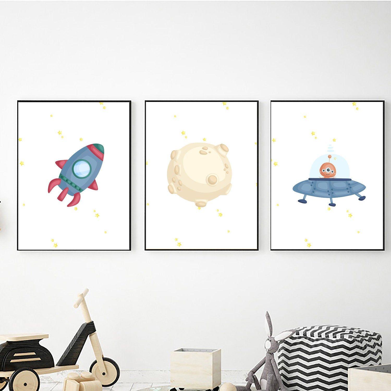 Set of 3 Outer Space Wall Art Nursery Decor Space Prints Kids Room Decor Outer Space Decor Printable Wall Art Digital Download
