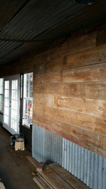 container wall barn wood and tin container basement walls barn rh pinterest com