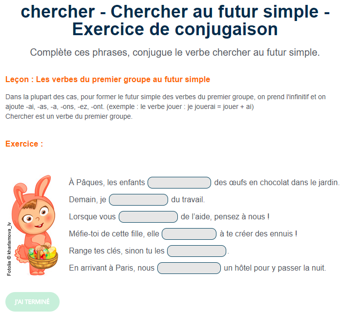 Le Verbe Chercher Au Futur Simple Futur Simple Exercices Conjugaison Exercice Ce2