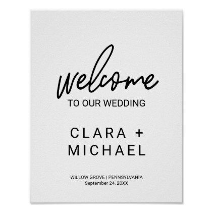 Whimsical Calligraphy Welcome Wedding Poster  Wedding Posters
