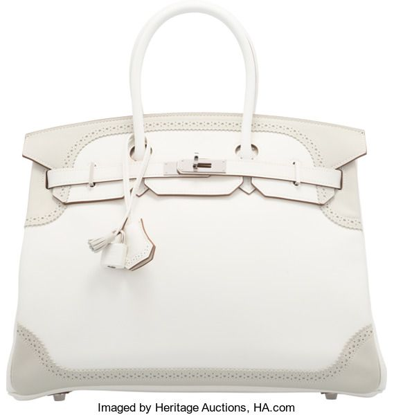 664e2376fec Hermes 35cm White   Gris Perle Swift Leather Ghillies BirkinBag with  Palladium Hardware. P Square