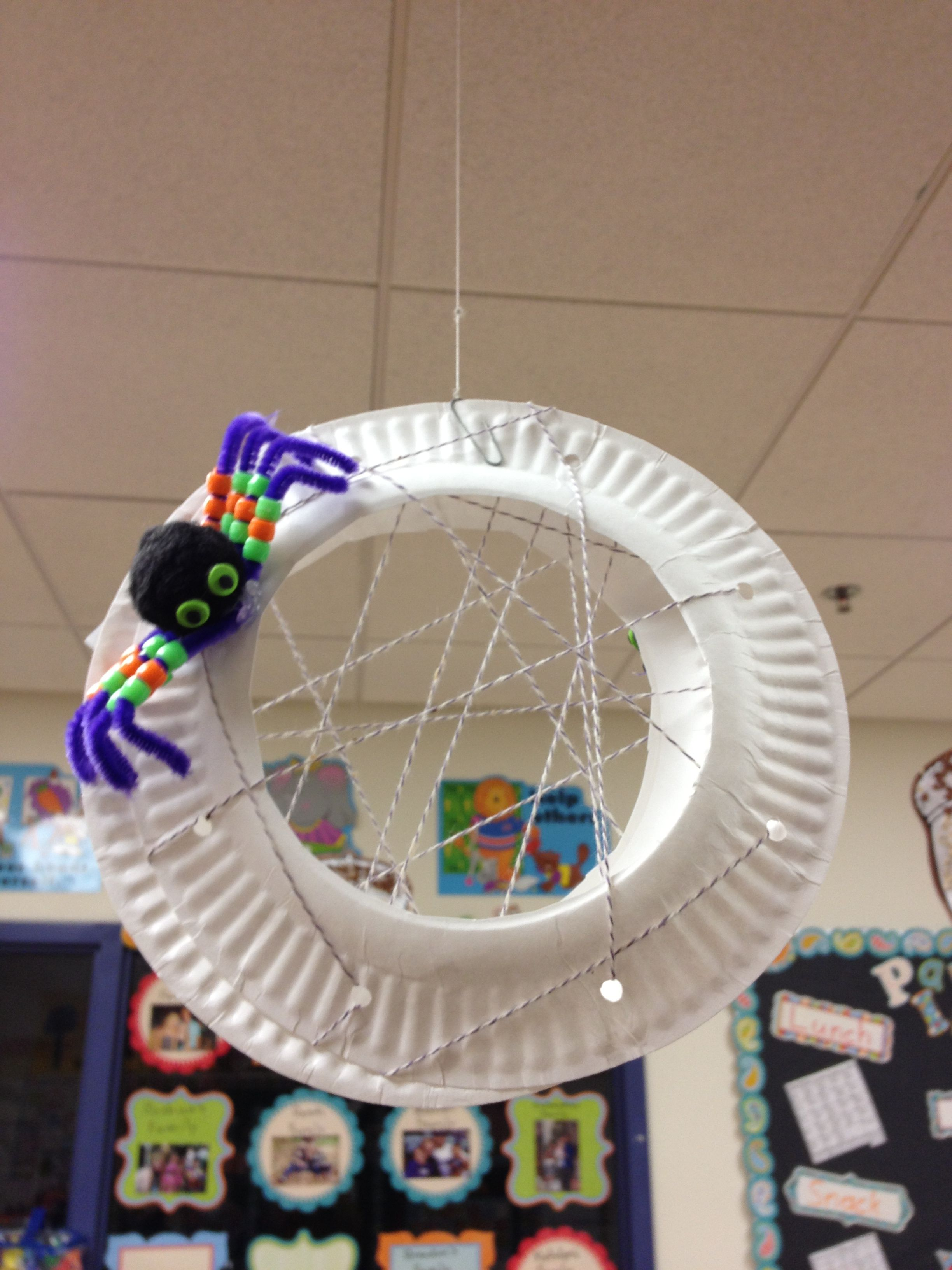 Fine Motor Activity Kids Lace Beads On Pipe Cleaner Legs On Spider And Lace String Through Cut