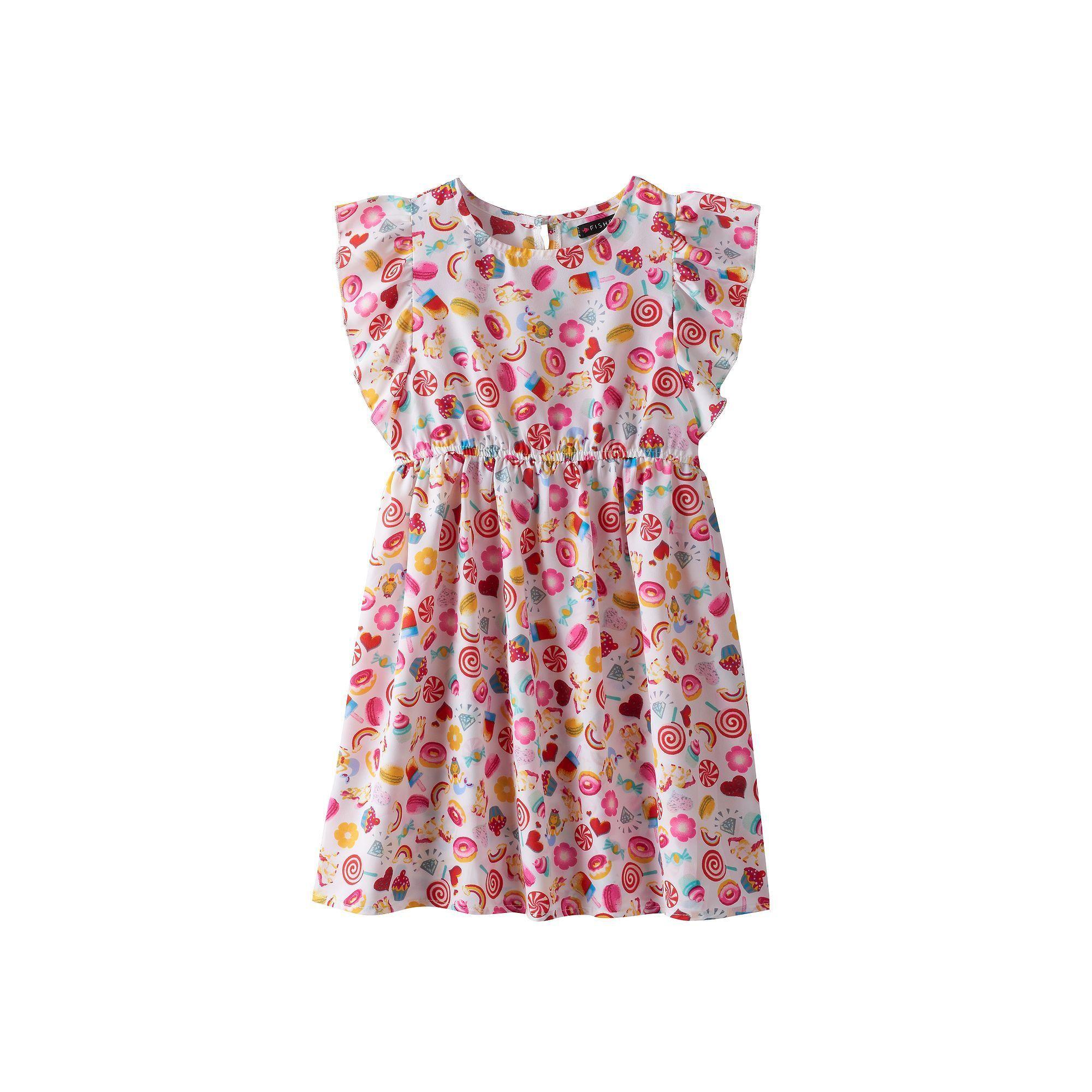 Girls 4-6x Emerald Sundae Emoji Flutter Sleeve Dress, Size: 4, White Oth