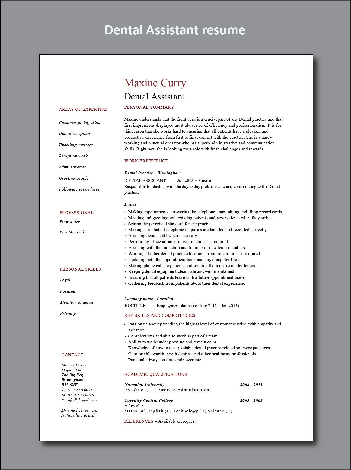 Dental assistant resume example project manager resume