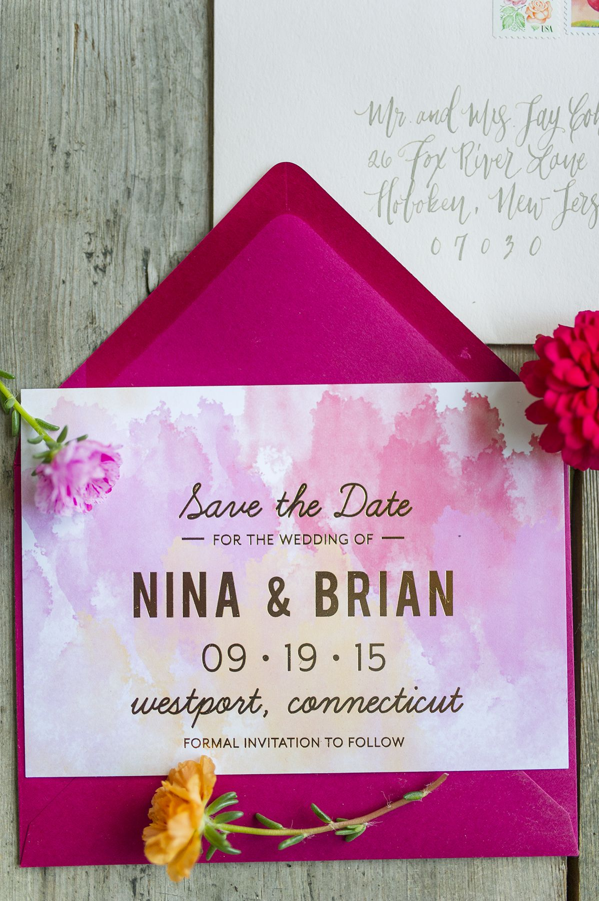 destination wedding save the dates and invitations%0A Pink watercolor   gold foil wedding save the date card from   rosevilledesigns   photo cred