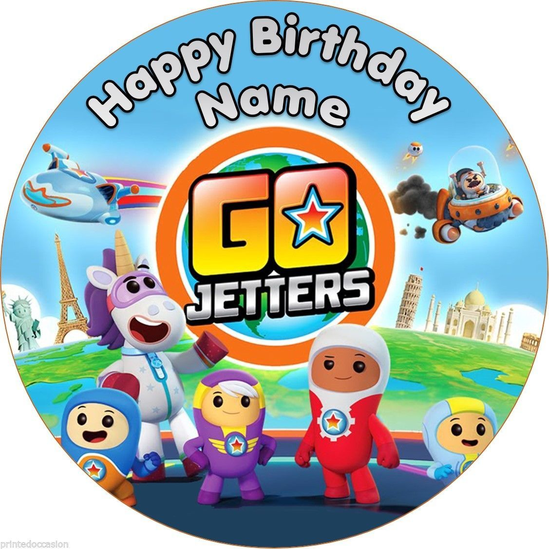 Edible GO Jetters Cake Topper Personalized Wafer Birthday