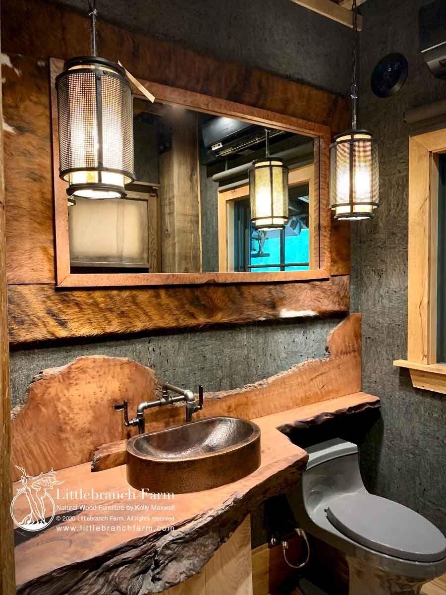 Floating Wood Slab Vanity In 2020 Rustic Vanity Natural Wood Decor Rustic House