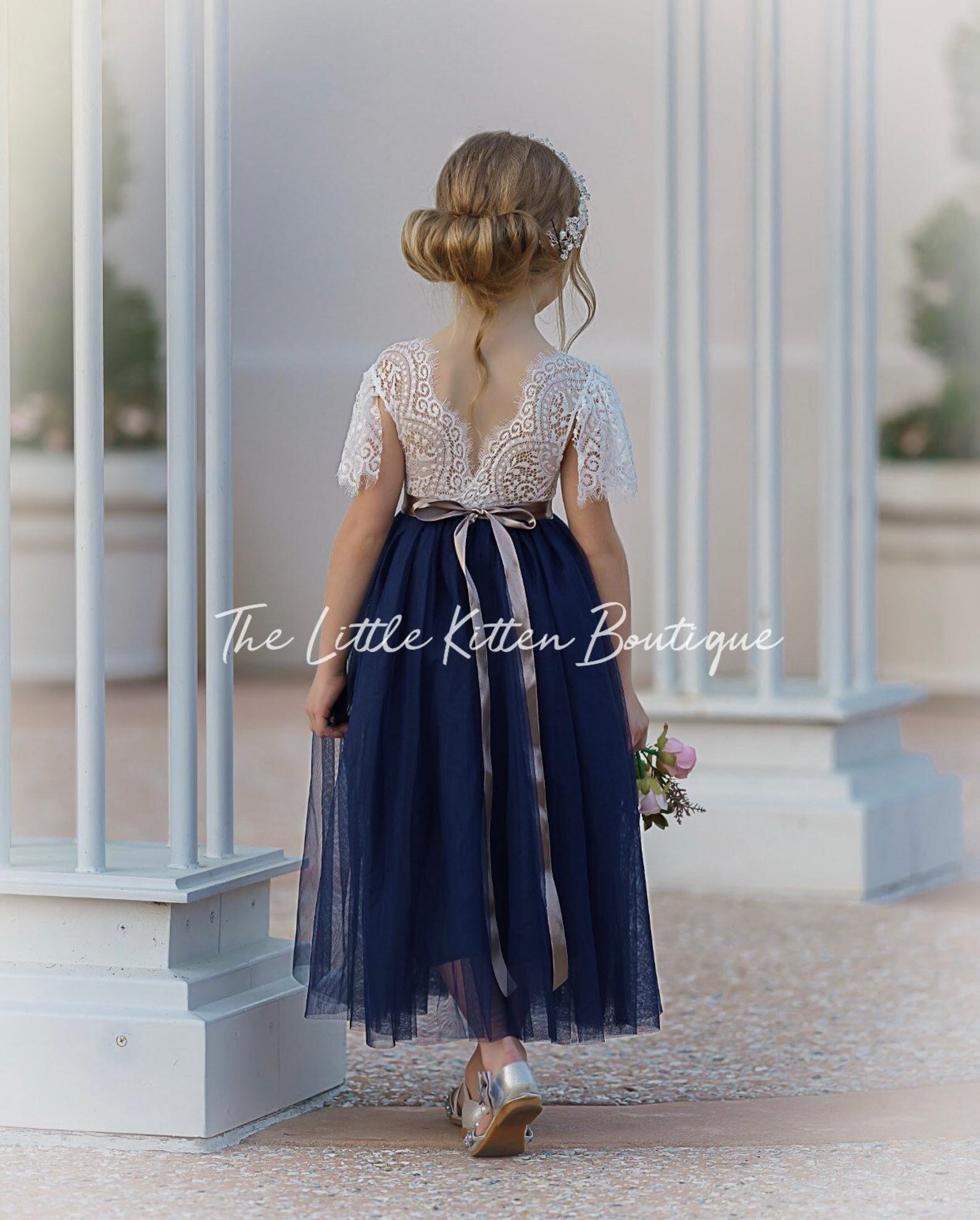 tulle flower girl dress, lace flower girl dress, flower girl dress, boho flower girl dress, rustic flower girl dress, Navy flower girl dress -   19 dress Flower Girl blue ideas
