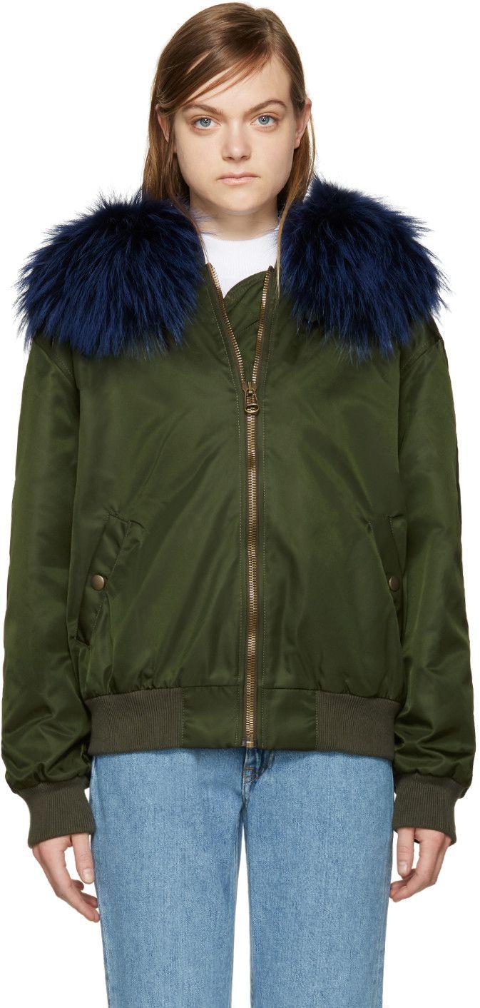 Mr Mrs Italy Green Fur Collar Bomber Jacket Mrmrsitaly Cloth