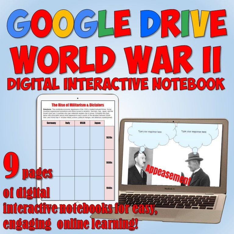World war 2 google drive interactive notebook google drive social nine fully editable digital interactive notebook pages on world war 2 for google drive fandeluxe Image collections