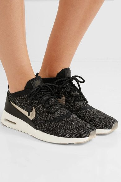 3ca6a3cc72 Nike Black and gold Flyknit, black leather Lace-up front Nike follows its  own size conversion, therefore the size stated on the box will differ from  the one ...