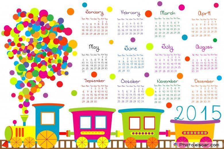 2015 Calendar for kids with cartoon train happy Pinterest Craft