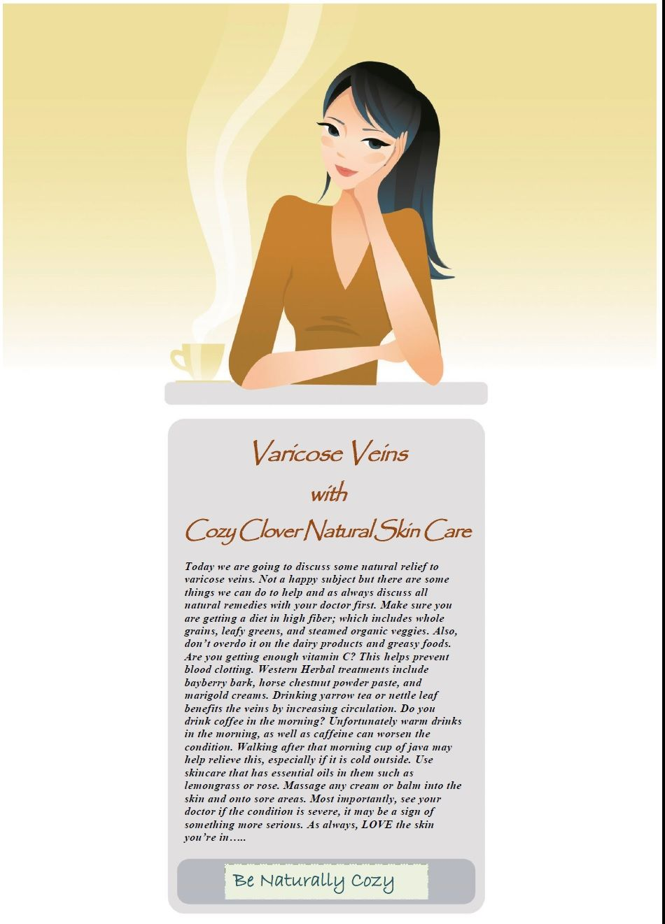 Natural skin health for varicose veins, by Cozy Clover