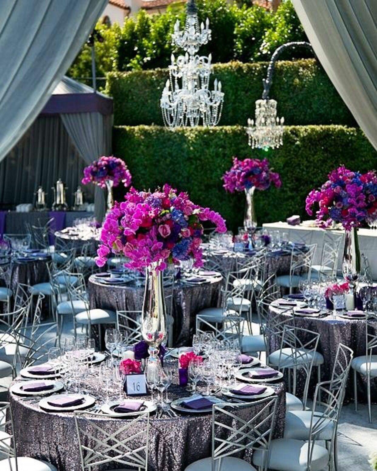 25th wedding decoration ideas  Centros de mesa altos y decoración en plata  When there is a