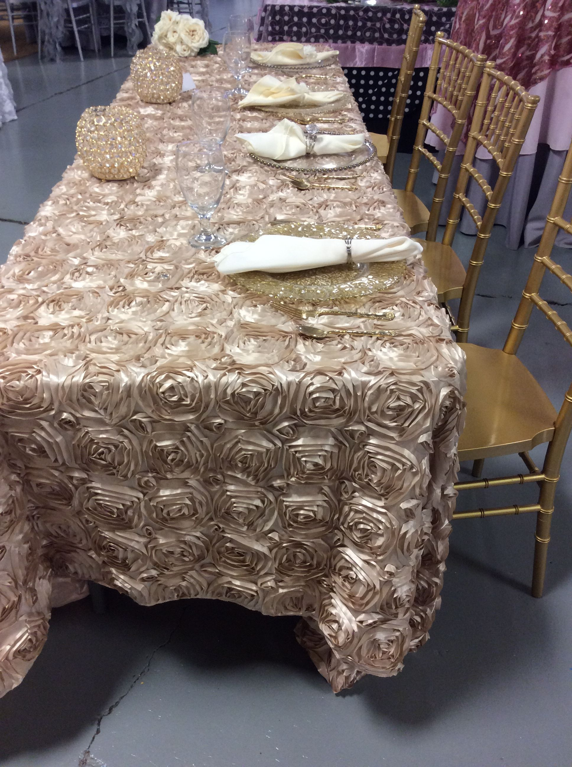 champagne rosette table linen so elegant paired with the gold rh pinterest ca