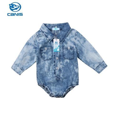 469996820bd0 Newborn Infant Baby Boys Denim Jeans Long Sleeve One Piece Bodysuit ...