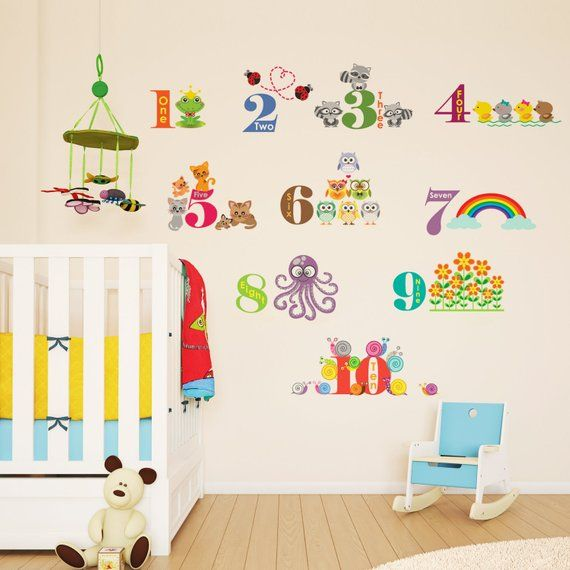 animals and numbers wall sticker happy characters home d cor rh pinterest com