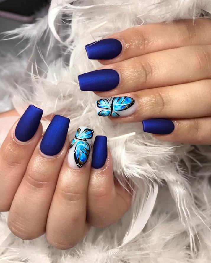 46 Unique Blue Acrylic Coffin Stiletto Nails Designs To Evalate Your Look Stiletto Nails Designs Coffin Nails Designs Nails