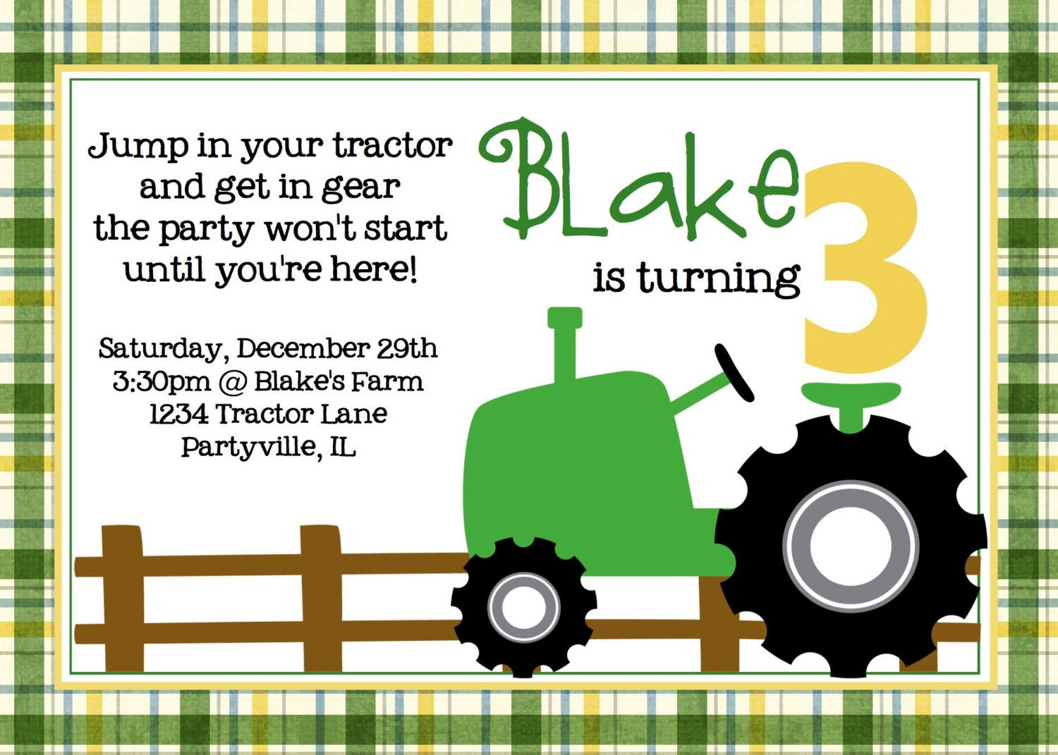 Tractor Birthday Party Green Tractor Printable 10 00