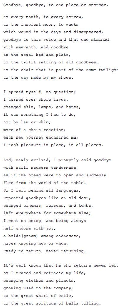 A poem full of loss, goodbyes and loneliness by the Chilean Poet