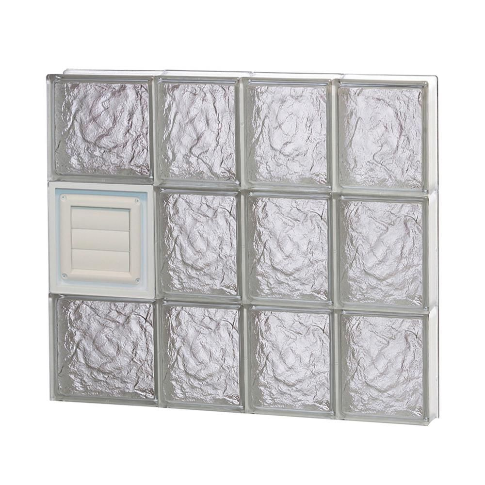 Clearly Secure 25 In X 23 25 In X 3 125 In Frameless Ice Pattern Glass Block Window With Dryer Vent 2624sicdv Glass Block Windows Glass Blocks Basement Windows
