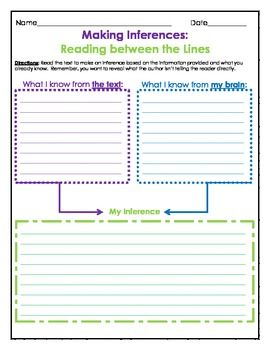 reading between the lines worksheets