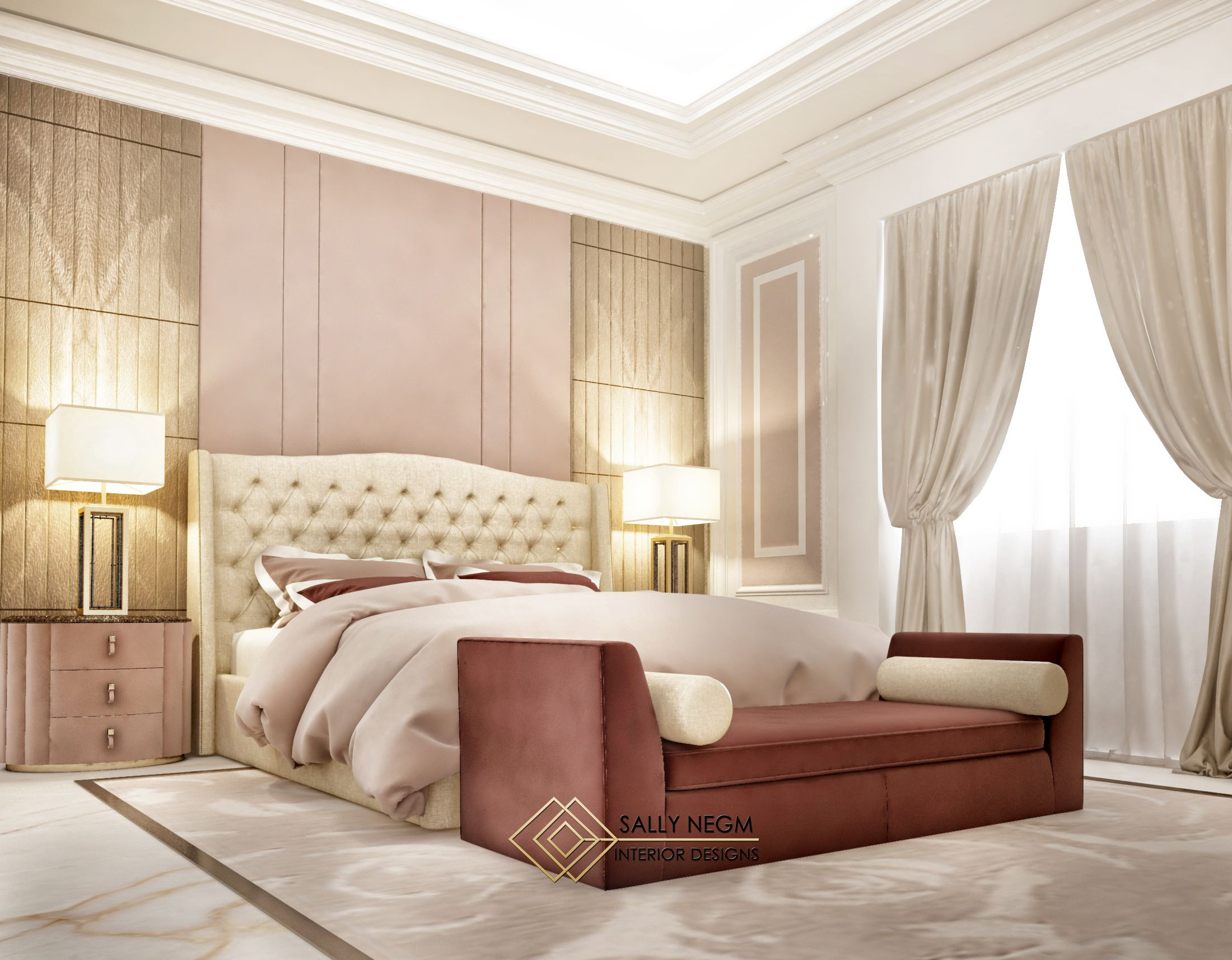 Luxury Modern Master Bedroom Interior Design In Dust Rose With The Bold Golden Shades
