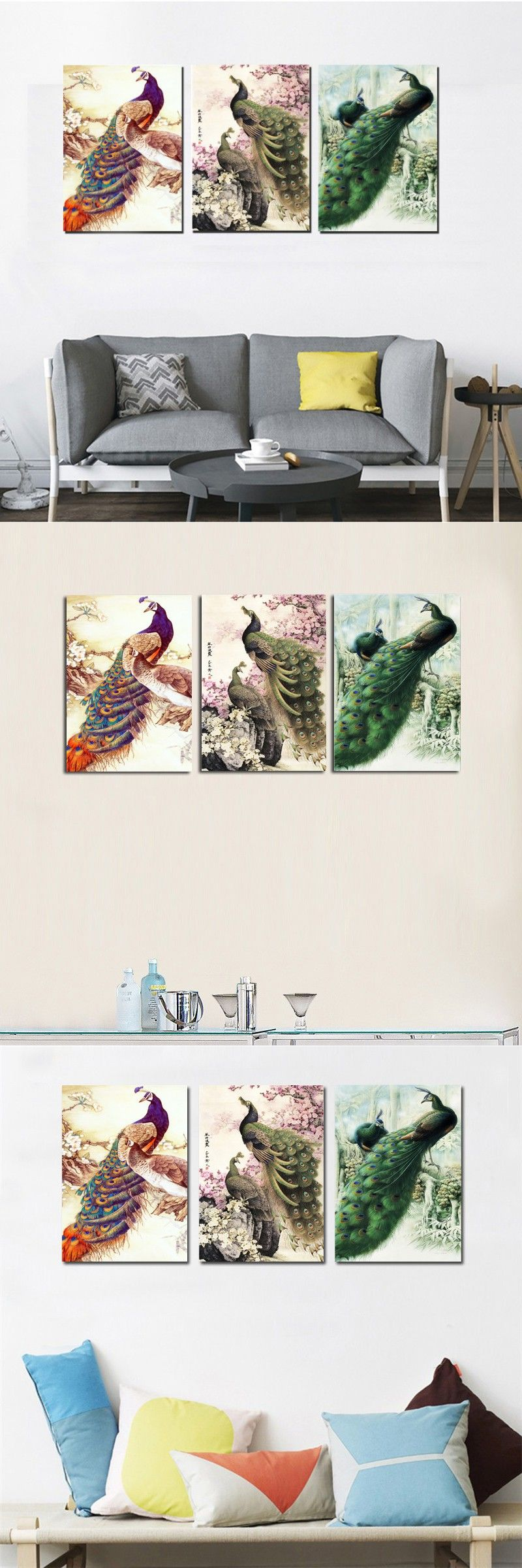 living room art prints%0A Modern Home Decor Painting Canvas Art Print Peacock Painting Chinese Animal  Large Wall Art Livingroom Decor   Panel Set No frame