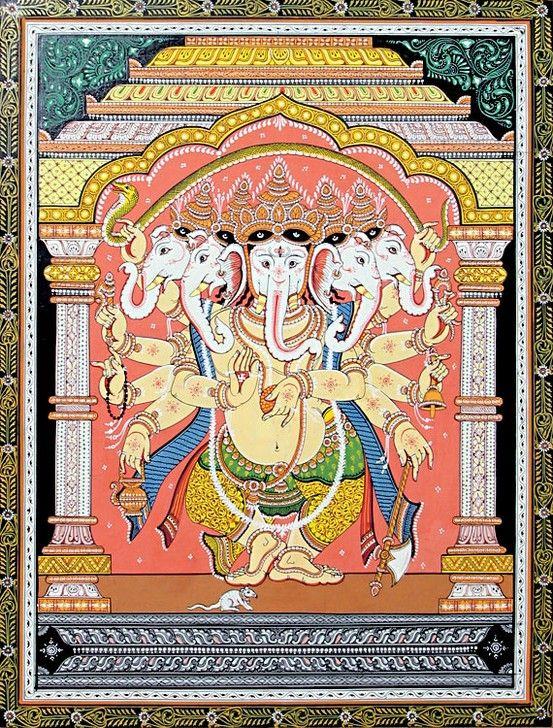 Five Headed Ganesha - Orissa Pataa Painting