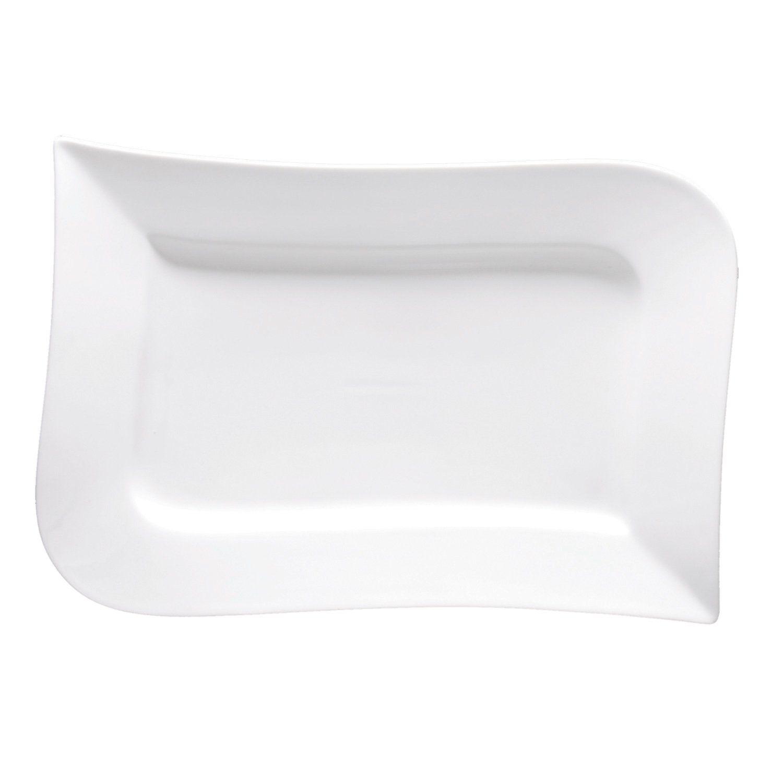 Fortessa Fortaluxe SuperWhite Vitrified China Dinnerware, Ojo 14-1/4-Inch Rectangular Platter