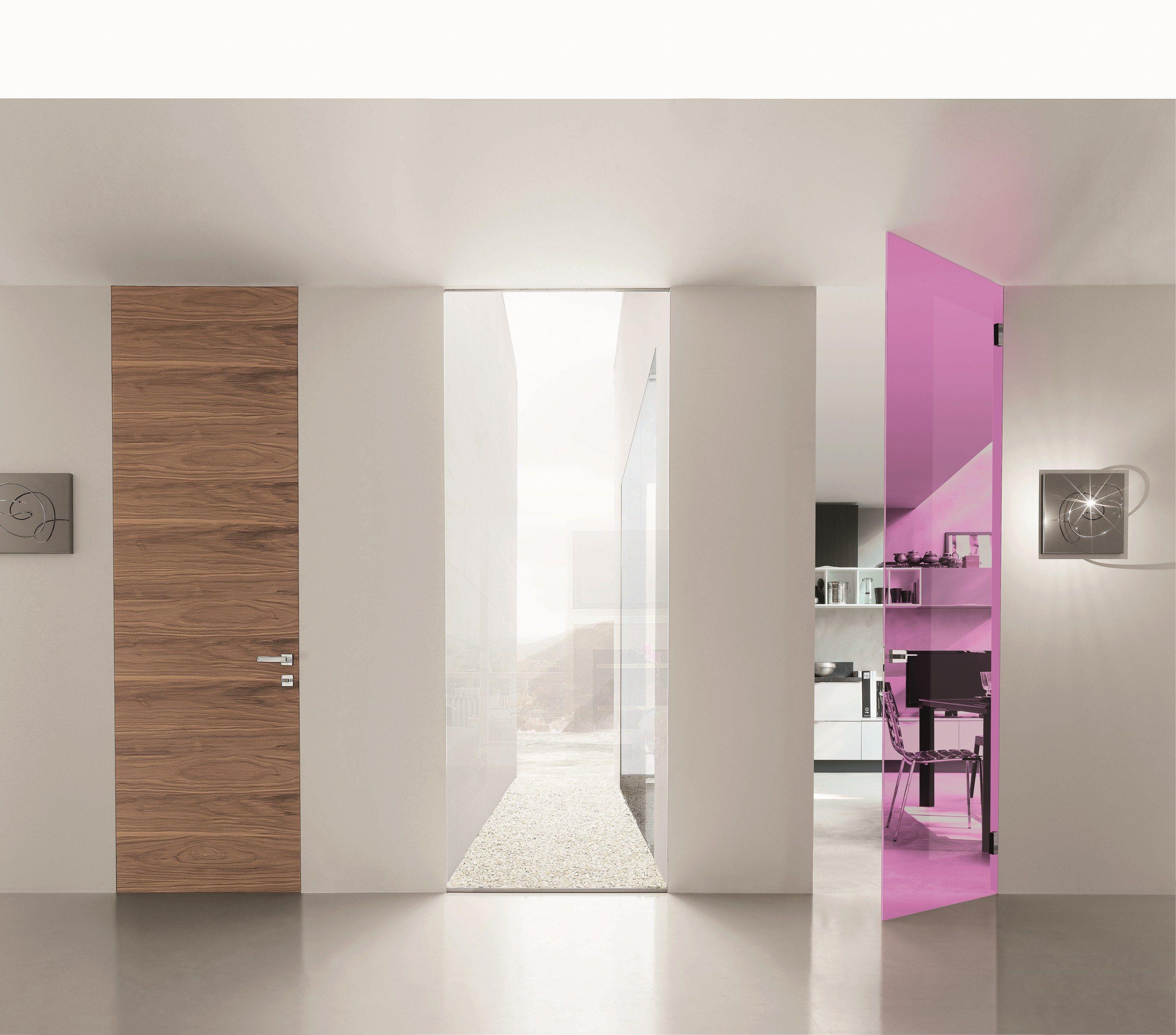 Puerta batiente a ras de pared de vidrio sin marco VITRUM-LINE by ...