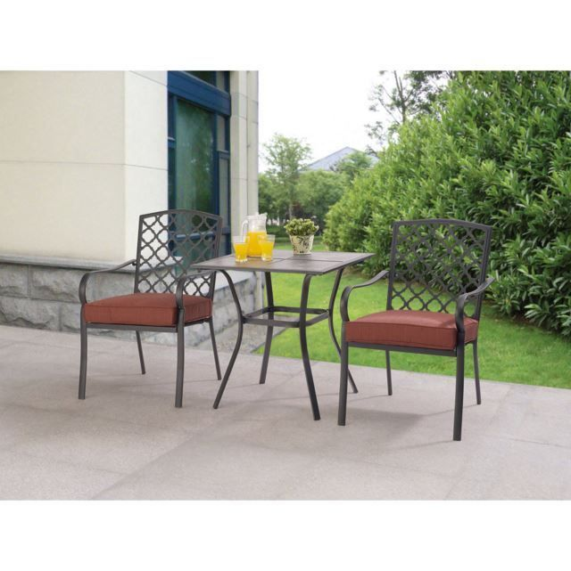 Outdoor Patio Furniture Bistro Set 3 Piece Chairs Coffee Table